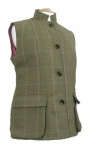 Beaver of Bolton Ladies Nehru Collar Tweed Waistcoat