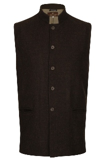 Beaver of Bolton Mens Nehru Collar Waistcoat Front Brown