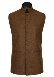 Beaver of Bolton Mens Nehru Collar Tweed Waistcoat Front