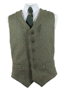 Beaver of Bolton Mens Lapel Waistcoat in Dark Olive Tweed