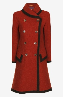 Beaver of Bolton Ladies 3/4 Length Double Breasted Framed Shawl Collar Coat Red