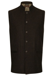 Beaver of Bolton Mens Nehru Collar Tweed Waistcoat Front 2