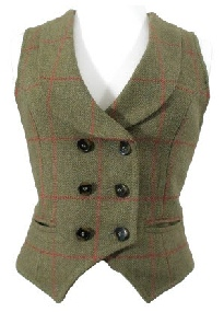 Beaver Ladies Tailored Shawl Collared Double Breasted Tweed Waistcoat