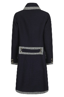 Beaver of Bolton Ladies 3/4 Length Double Breasted Framed Shawl Collar Coat Navy Rear