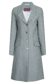 Beaver of Bolton Ladies 3/4 Length Peak Lapel Tweed Coat Front