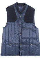 Beaver of Bolton Mens Vertical Quilted Shoot Vest in Blue Nylon