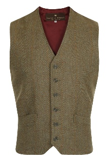 Beaver of Bolton Mens 2/4 Pocket Tweed Waistcoat Front