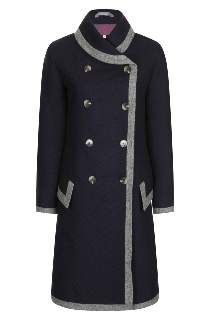 Beaver of Bolton Ladies 3/4 Length Double Breasted Framed Shawl Collar Coat Navy