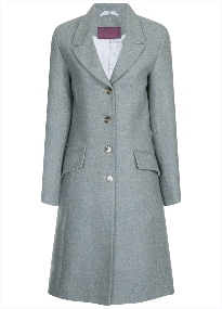 Beaver of Bolton Ladies 3/4 Length Single Breasted Peak Lapel Tweed Coat