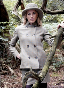 Beaver of Bolton Ladies DB Stand Collar Tweed Jacket (Tulla)